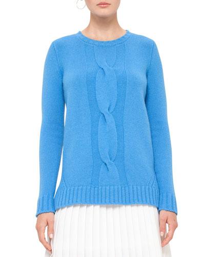 Cable-Knit Crewneck Sweater, Azure