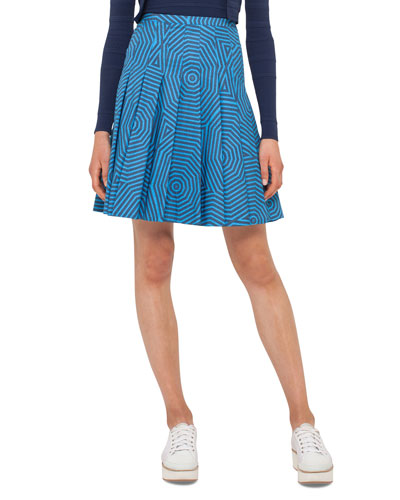 Pleated Geometric-Print Skirt, Navy