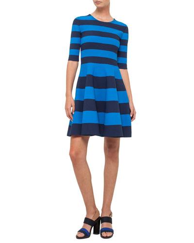 Striped Half-Sleeve Milano-Knit Dress, Navy/Azure