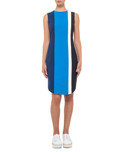 Colorblock Sleeveless Shift Dress, Deep Blue
