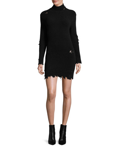 Destroyed Knit Mock-Neck Dress, Black