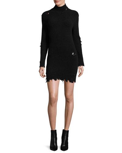 Destroyed Knit Mock-Neck Dress, Black