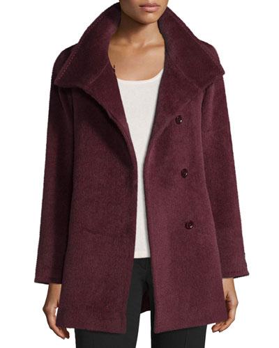 Hidden-Button Short Coat, Berry