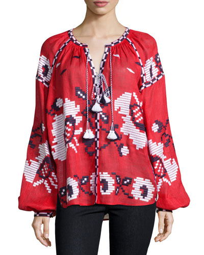 Long-Sleeve Embroidered Tassel-Tie Top, Red/White/Navy