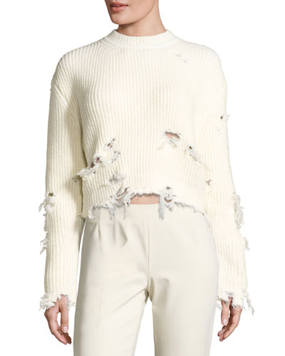 Destroyed Wool-Blend Sweater, Off White