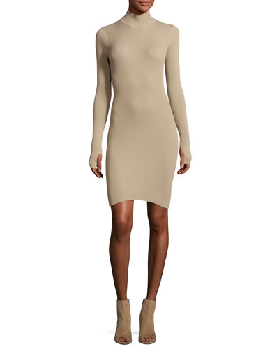 Ribbed-Knit Mock-Neck Dress, Sand