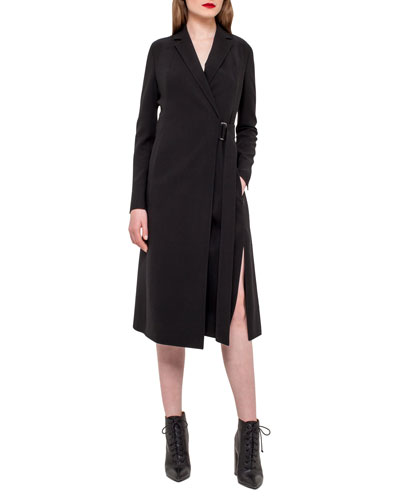 Wrap Dress w/Pleated Back, Black