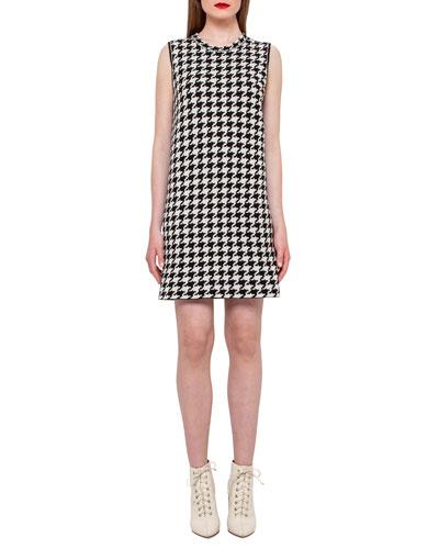 Reversible Houndstooth Cashmere Dress, Black/Moonstone
