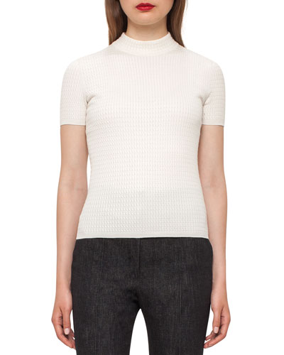 Cable-Knit Mock-Neck Sweater, Moonstone