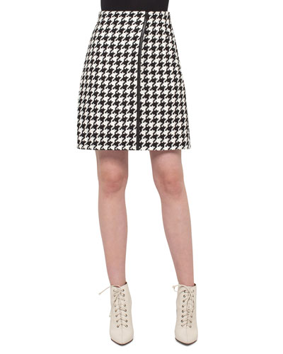 Houndstooth Wrap Skirt, Black/Moonstone