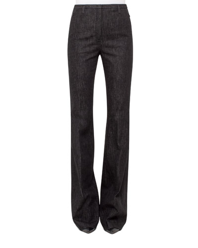 Farrah Stretch-Denim Pants, Black