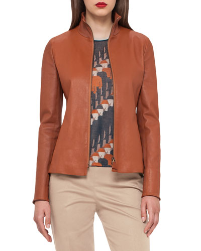 Haley Leather Zip-Front Jacket, Cigar