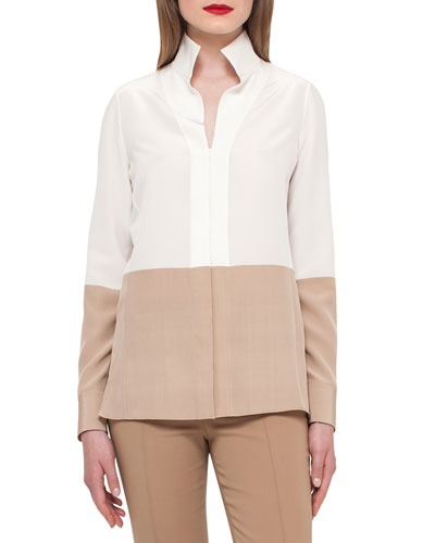Two-Tone Silk Blouse w/Buttons, Moonstone/Camel