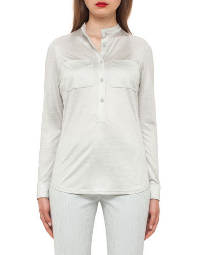 Silk Jersey Pocket Blouse, Iceman