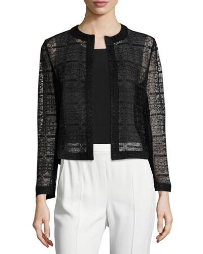 Heidi Lace Open-Front Jacket, Black