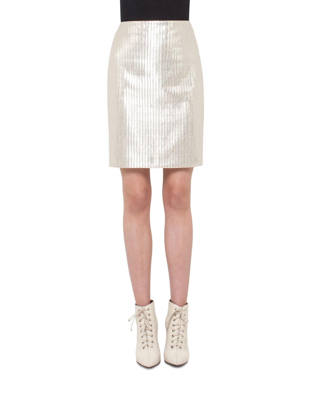 Pencil Metallic Skirt, Cremello