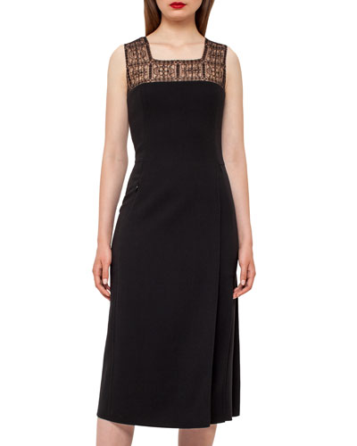 Square-Neck Godet-Pleated Dress, Black