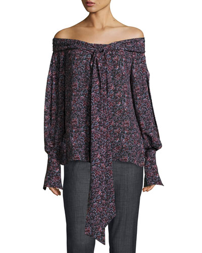 Mons Long-Sleeve Floral-Print Off-the-Shoulder Blouse, Purple