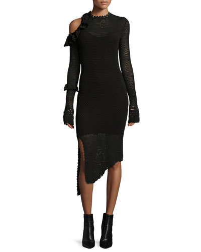 Concord Cold-Shoulder Crochet Midi Dress, Black