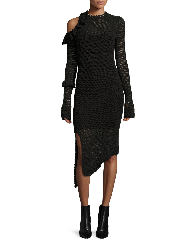 Concord Cold-Shoulder Crochet Midi Dress, Black