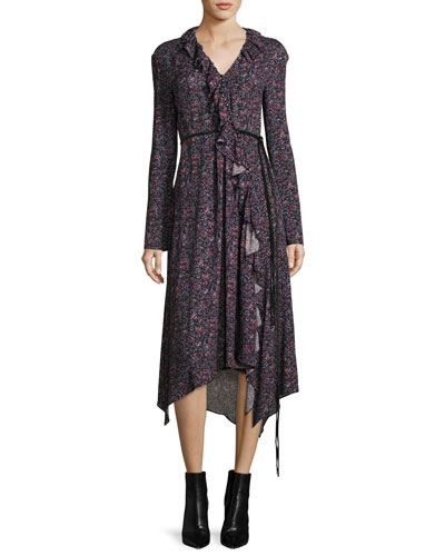 Ferrara Long-Sleeve Floral-Print Silk Midi Dress, Purple