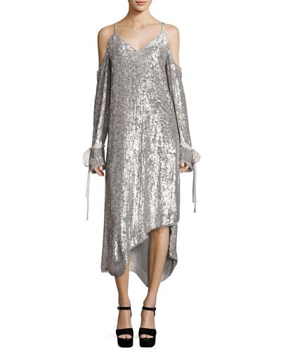 Lancaster Sequin-Embellished Cold-Shoulder Slip Dress, Silver