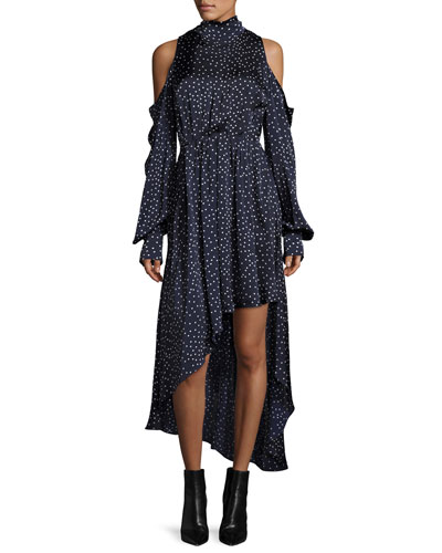 Rennes Cold-Shoulder Open-Back High-Low Silk Dress, Navy/White Dot