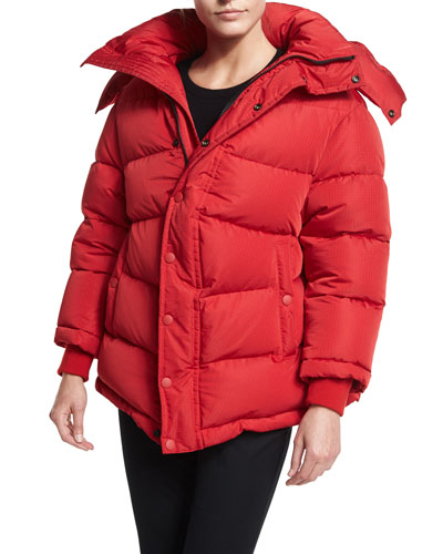 Quilted Puffer Coat, Red