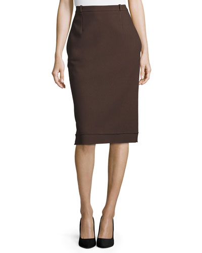 Fitted Pencil Skirt, Brown