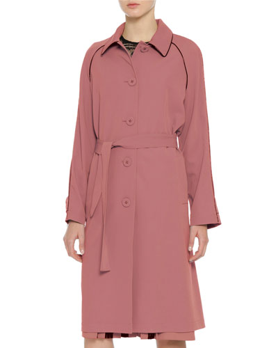 Wool Topcoat w/Contrast Piping, Dusty Rose/Black