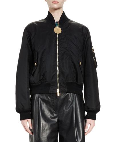Zip-Front Nylon Bomber Jacket, Black