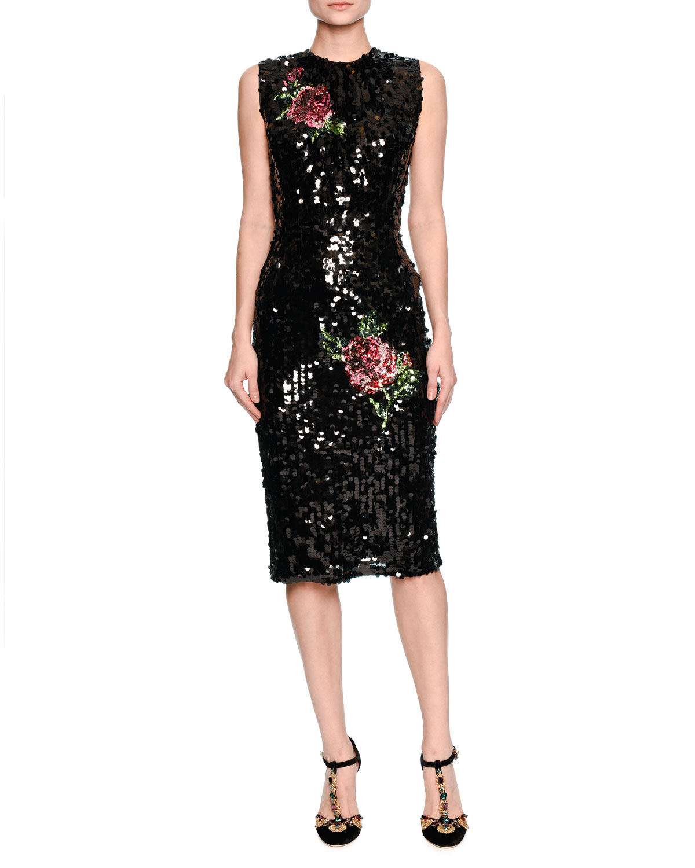 Sleeveless Sequined Rose Cocktail Dress, Black