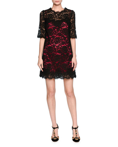 Elbow-Sleeve Lace Shift Dress w/Contrast Slip, Black/Pink