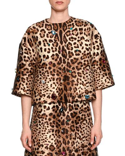 Jewel-Embellished Leopard-Print Shantung Jacket