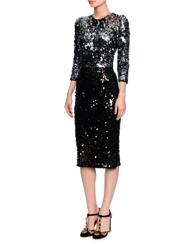 3/4-Sleeve Two-Tone Sequined Dress, Metallic Gray