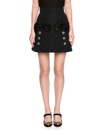 Bow-Trim Lace Mini Skirt, Black