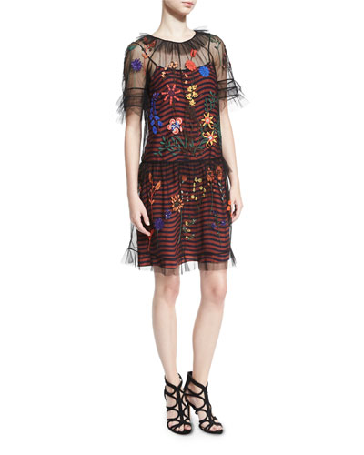 Striped Dress w/Embroidered Tulle Overlay, Black/Multi