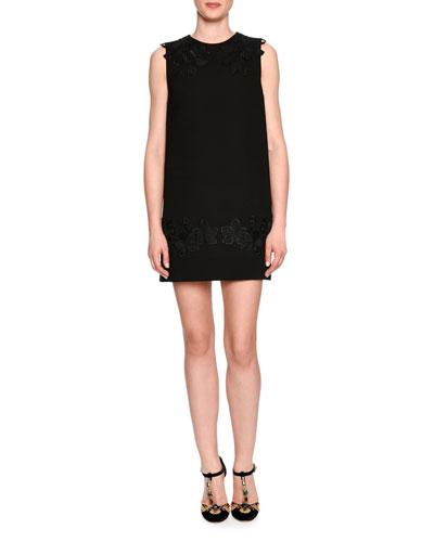 Lace-Trim Crepe Shift Dress, Black