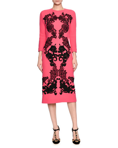 Lace-Applique Wool Sheath Dress, Fuchsia/Black