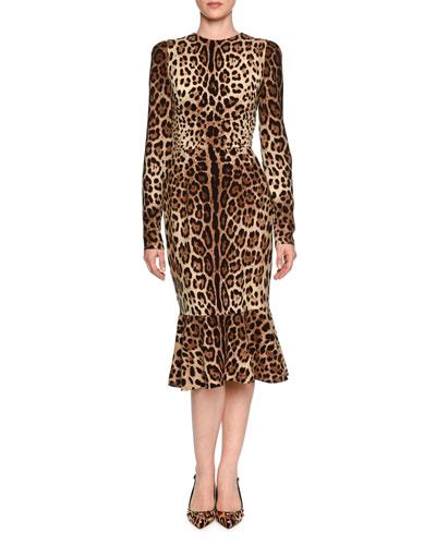 Long-Sleeve Leopard-Print Midi Dress