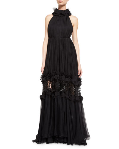 Aliyah Ruffled Silk Halter-Neck Gown, Black