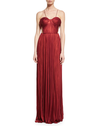 Aisha Pleated Chiffon Camisole Gown, Wine