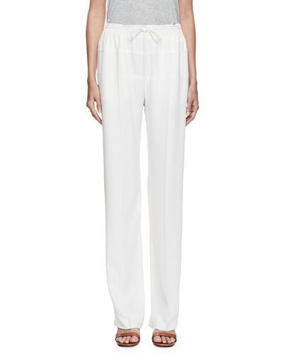 Drawstring Cady Track Pants, White
