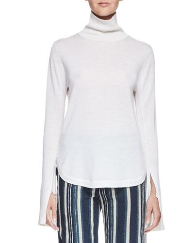 Silk Turtleneck Top w/Slit Bell Sleeves, Ivory