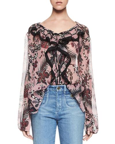 Ruffled Cactus-Print Silk Blouse, Pink/Burgundy