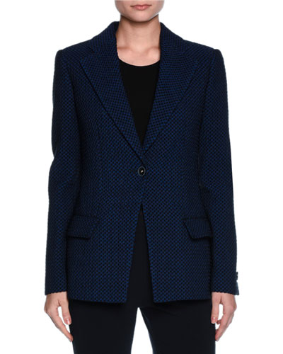 Contrast Dot Stretch Jacket, Midnight Blue