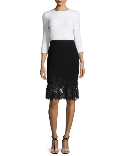 3/4-Sleeve Combo Dress w/Guipure Hem, Ivory/Black