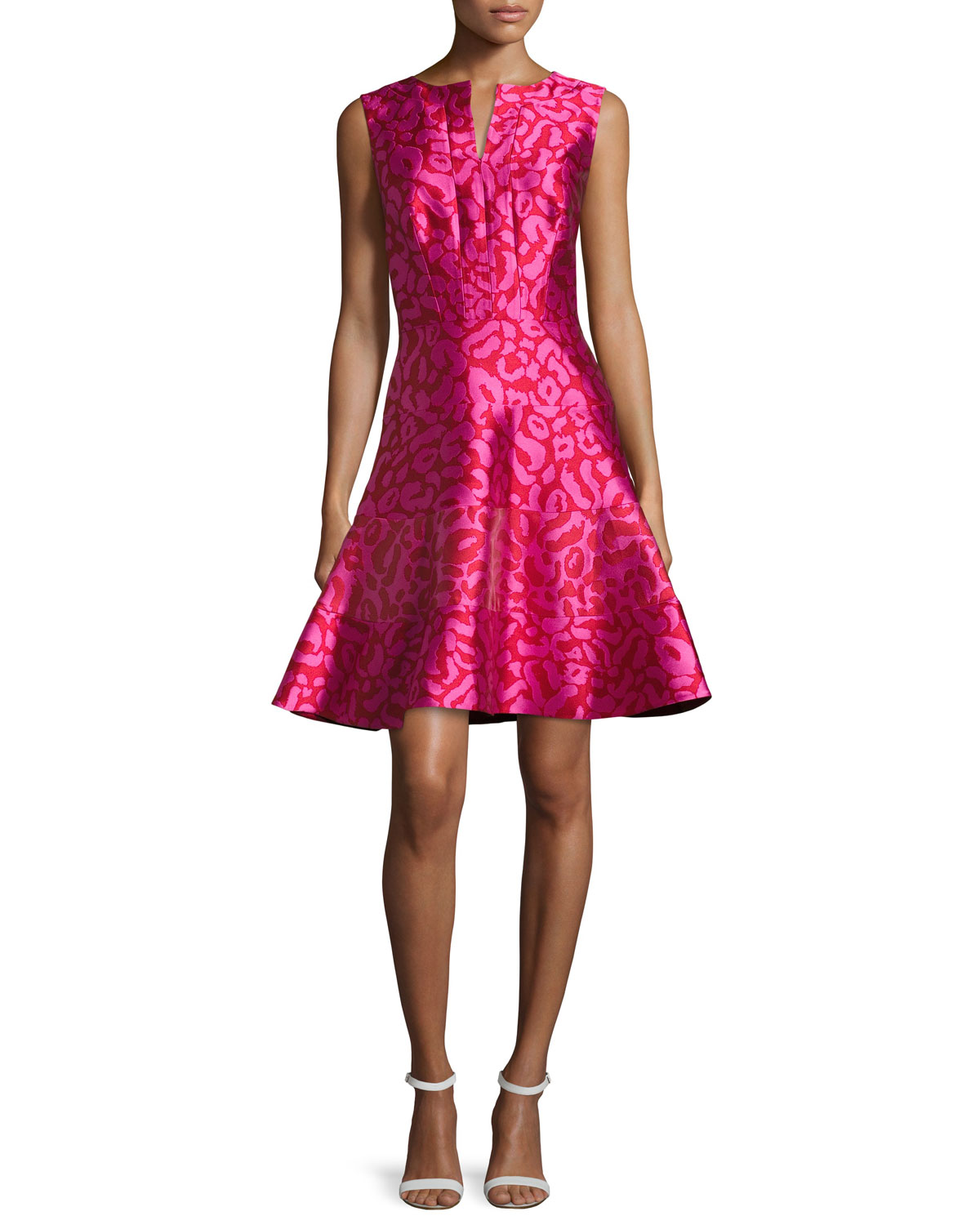 Leopard-Jacquard Fit-and-Flare Dress, Currant/Hot Pink