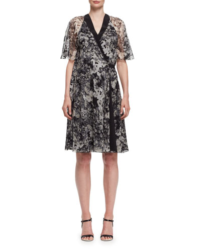 Peony-Print Chiffon Wrap Dress, Black/White