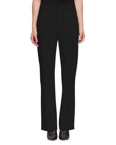Woven Slim-Leg Trousers, Black